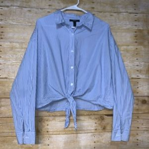 Forever 21 pinstriped button down blouse